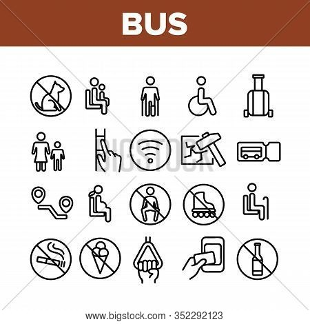 Bus Travel Prevent Collection Icons Set Vector. Crossed Dog And Alcohol, Food And Smoking Bus Marks,