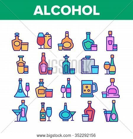 Alcohol Drink Bottles Collection Icons Set Vector. Tequila And Cognac, Vodka And Beer, Whiskey And C