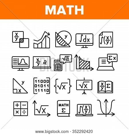 Math Science Education Collection Icons Set Vector. Math Formula And Function, Geometry Figure And B