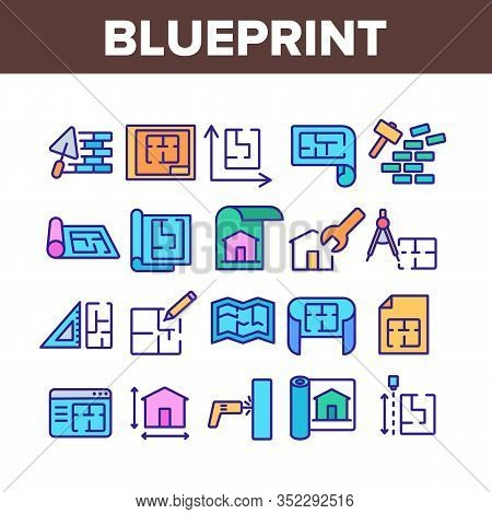 Blueprint Architecture Collection Icons Set Vector. House Project On Blueprint, Brick Wall With Cons
