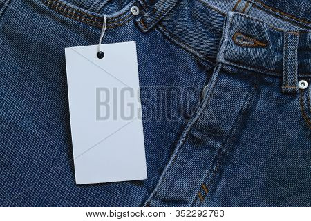 Element Of Jeans Pants With Empty White Tag Label For Text