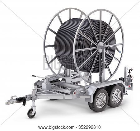Broadband Cable Drum With Trailer - 3d Illustration