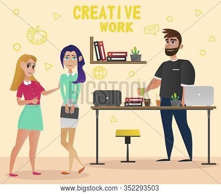 Two Women And Man In Office. Creative Work. Design Studio. Office Interior. Creative Designer. Book
