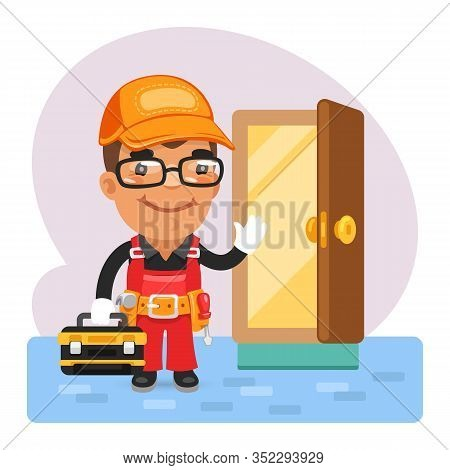 Cartoon Locksmith Opened The Door. Composition With A Professional. Flat Male Character.