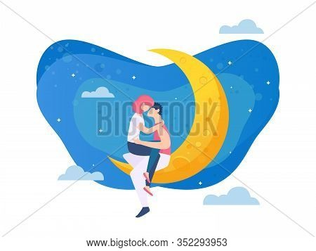 Bright Poster Sexual Relationship Cartoon Flat. Romantic Banner Good Relationship To Live Together I