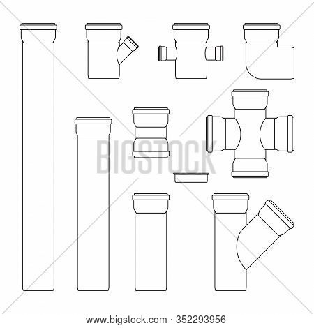 Plastic Tubes. Sewer Pipe Connectors. Outline Icons. Vector Illustration Isolated On White Backgroun
