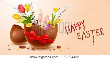 Broken Easter Chocolate Egg Made From Dark Chocolate With Cheerful Easter Bunny And Spring Flowers I
