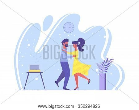 Bright Poster Loving Couple Dance Cartoon Flat. Partners Are Attentive To Each Other And Mutual Symp