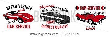 Retro Car Service Sign. Vintage Vehicle Repairing Workshop. Racing Garage. Automotive Icon. American