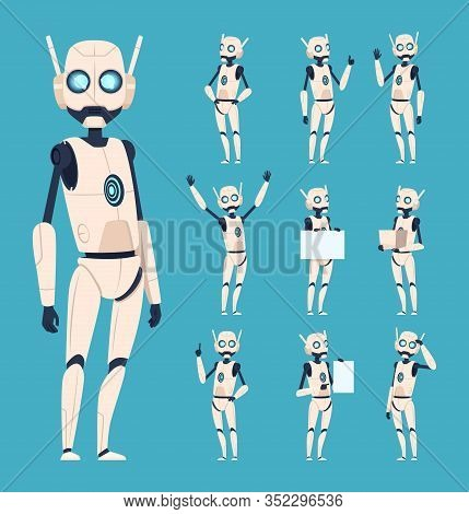 Cute Robots. Android Characters In Action Poses With Bionic Arms Vector Cartoon Humanoid Persons. Ro