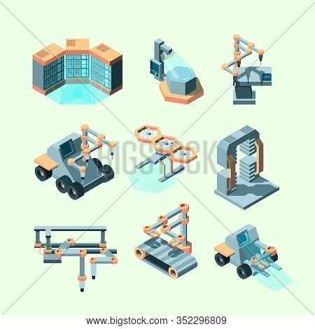 Industry Isometric. Smart Machinery Robotic Remote Control Production Processes Electronic Equipment