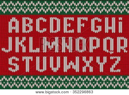 Knitted Font. Christmas Alphabet For Party Sweater Letters Of Fabric Clothes Ethnic Textured Vector.