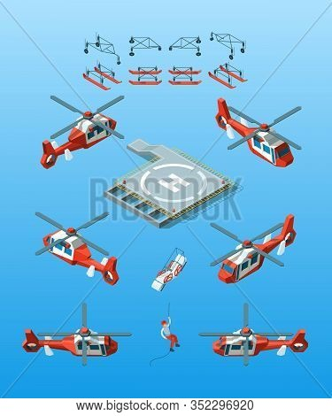 Helipads. Helicopter Isometric Vector Civil Aviation Set Urban Transport. Illustration Helicopter Wi