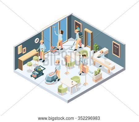 House Cleaning. Professional Cleaning Service Person In Gloves Sponge Polishing Window And Floor In