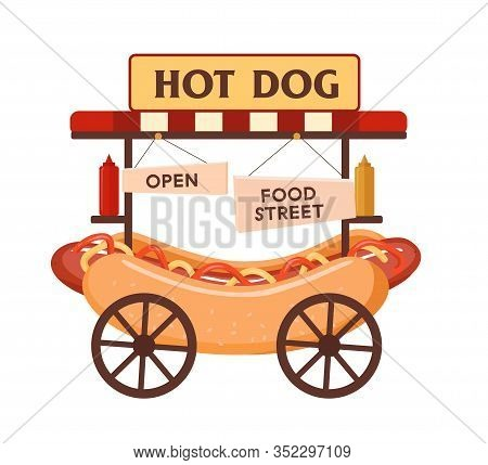 Fast Food Hot Dog Cart. Urban Kiosk For Sale Hotdogs. Fast Food Business. Flat Vector Illustration S