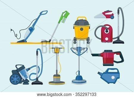 Cleaning Equipment. Electrical Vacuum Cleaner Professional Supplies Household Service Vector Collect