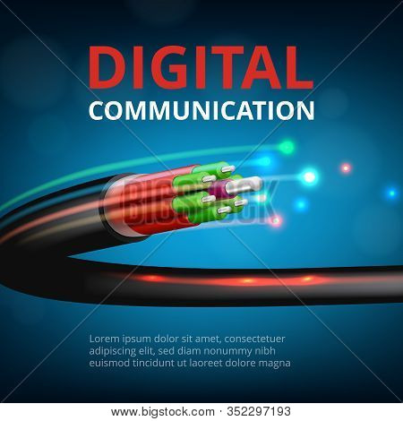 Optical Fast Connection. Future Technology Cyber Internet Communication Vector Realistic Concept Bac