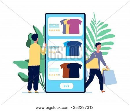 Online Shopping. Guy Chooses Clothes. Product Reviews And Happy Customers. Rating Service For Mobile