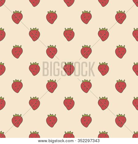 Regular Seamless Pattern With Simple Red Strawberries