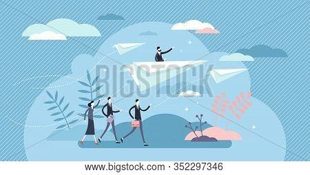 Business Direction Paper Plane Concept, Flat Tiny Businessman Persons Vector Illustration. Corporate
