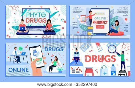 Online Pharmacy Classic And Alternative Medicare Services Set. Pharmaceutical Drugs For Phototherapy