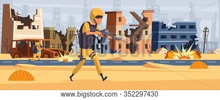Army Soldier. Military Background Man With Ammunition And Gun Warrior Attack Vector Cartoon Characte