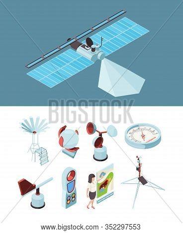 Weather Equipment. Meteorological Station Satellite Measurement Socks Wind Observing Place. Illustra