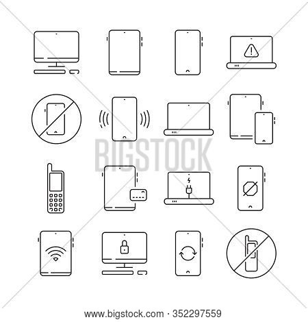 Mobile Devices. Mobility Equipment Electronic Gadgets Vector Collection Set Thin Line Icon. Mobile D