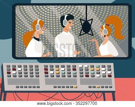 Music Band Of Man And Women Recording Song In Audio Studio With Professional Equipment. Singers Wear