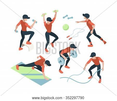 Cardio Training. Fitness Dynamic Exercises Woman And Man Doing Sport Gymnast Lifting Vector Gym Isom