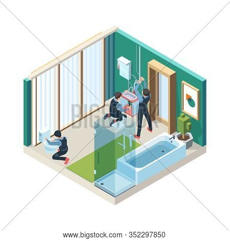 Repair Bathroom. Plumber Workers Install Pipelines In Washing Room Vector Concept Pictures Isometric