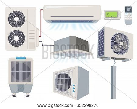 Blow Filter. Air Conditioner Ventilation Systems Home Wind Tools Vector Cartoon Illustration. Air Sy