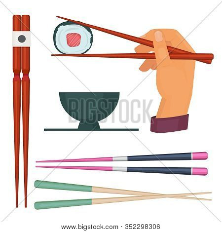 Wooden Chopstick. Oriental Kitchen Items For Eating Food Colored Japan Stick For Eating Sushi And Se