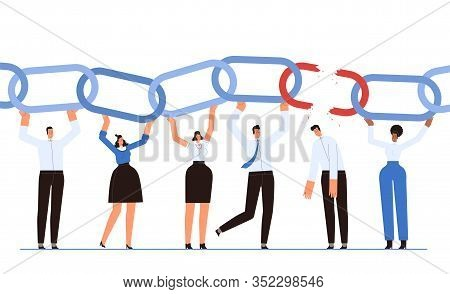 A Team Of Businessmen Holds The Chain As A Symbol Of Successful Teamwork. The Man Broke The Chain Li