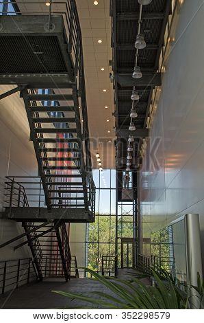 Basingstoke, Uk - September 21, 2019: Interior Staircase At Chineham Incinerator, Basingstoke. The P