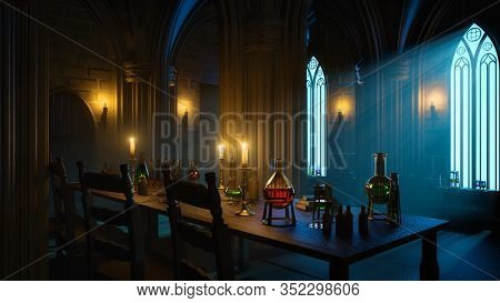 Moonlight Shadow In The Mysterious Gothic Alchemist Laboratory. 3d Illustration.