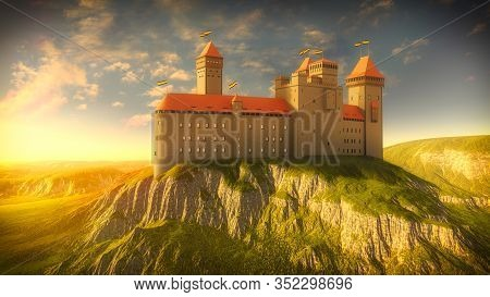 Castle On The Rock By Golden Sunshine. Medieval Sunshine With Ancient Fortress. 3d Illustration.