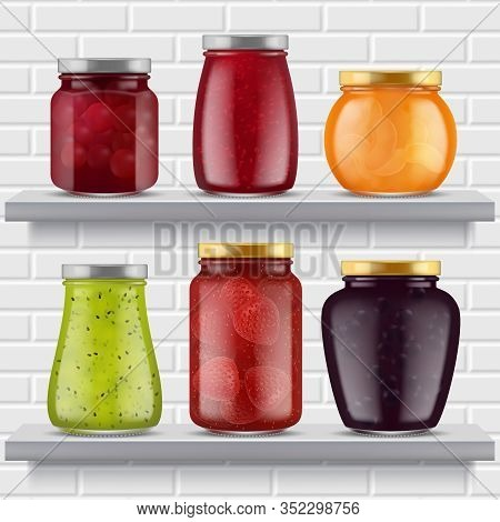 Jam Food Shelves. Fruits Marmalade Delicious Products Strawberry Peaches Apricots In Glass Jar Reali