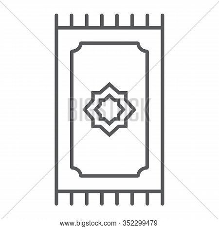 Prayer Rug Thin Line Icon, Ramadan And Islam, Prayer Carpet Sign, Vector Graphics, A Linear Pattern