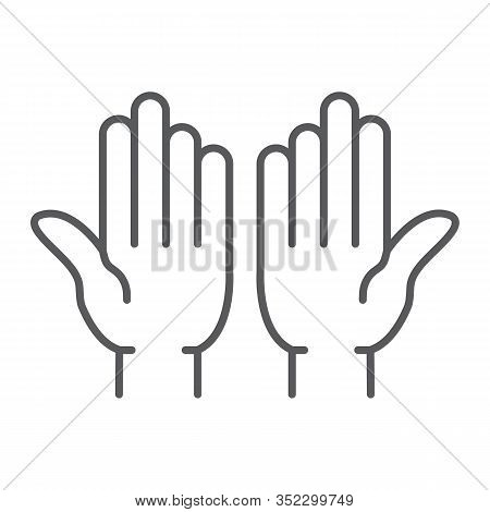 Islamic Prayer Thin Line Icon, Islam And Religion, Prayer Hands Sign, Vector Graphics, A Linear Patt