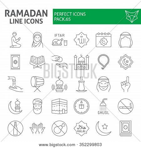 Ramadan Thin Line Icon Set, Islamic Holiday Symbols Collection, Vector Sketches, Logo Illustrations,