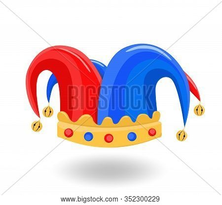 Fools Day Custome Face Accessories. Clown Hat. 1 April Fools Day. Carnival Mask. Isolated On White I