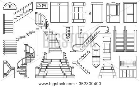 Staircase And Lift Vector Outline Set Icon.vector Illustration Stair And Escalator.isolated Outline
