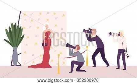 Elegant Beautiful Woman Posing To Paparazzi, Photographers With Cameras Photographing At Movie Festi