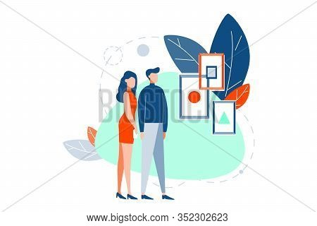 Exhibition, Picture, Cubism, Modern Futurism Art Concept. Young Couple, Guy And Girl Stand Look At P