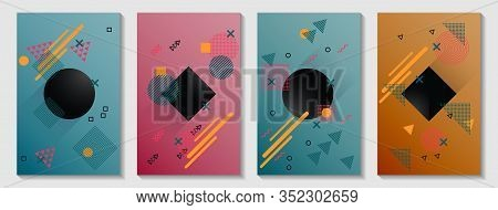 Memphis Style Cover Page Layouts Kit. Front Page Templates Vector Set With Geometric Shapes Uprising