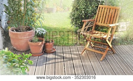 Chair And Potted Plant In A Wooden Patio In Garden