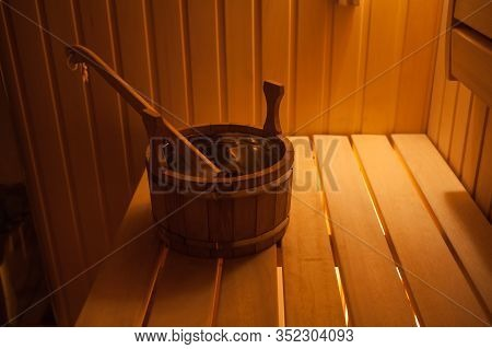 Traditional Wooden Dry Steam Room In Country House.