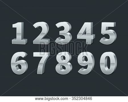 Silver 3d Numbers. Realistic Shiny Metallic Number Symbols With Shadows, Creative Chrome Or Platinum