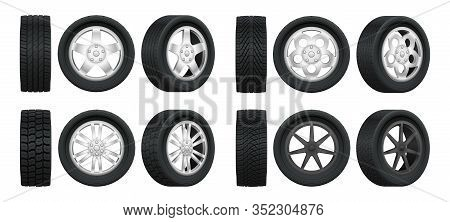 Realistic Tires. 3d Auto Tyres And Alloy Rims, Car Wheels With Different Tread Patterns From Side An